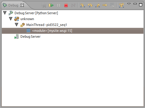Screenshot of pydev remote debugger running in eclipse